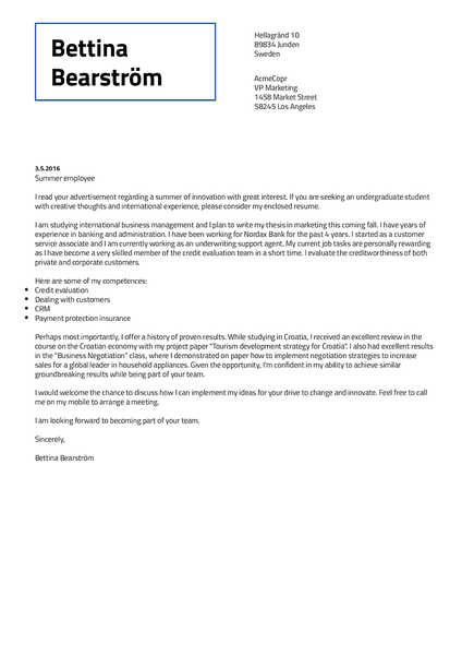 Preview of a functional cover letter template that you can download as PDF with Kickresume CV creator