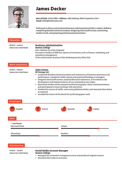 Double-decker resume template made by Kickresume resume builder