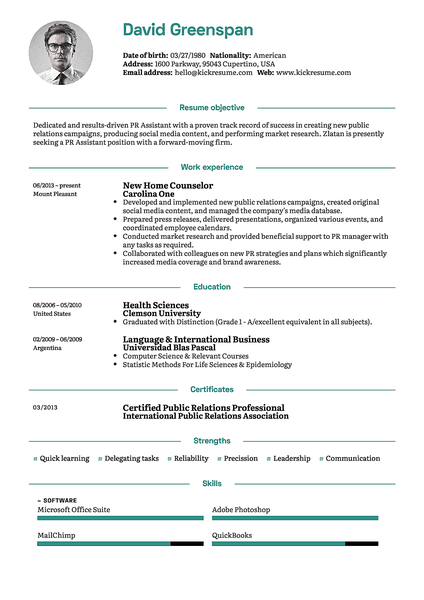 Green resume template made by Kickresume resume builder
