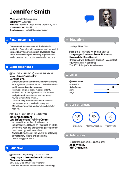 IMessage resume template made by Kickresume resume builder