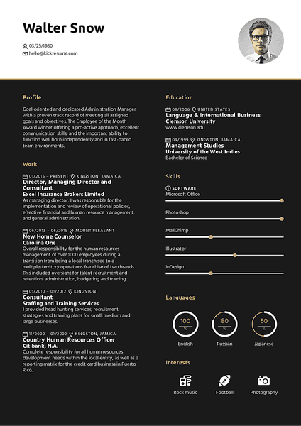 Midnight resume template made by Kickresume resume builder