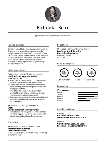 Minimalistic resume template made by Kickresume resume builder