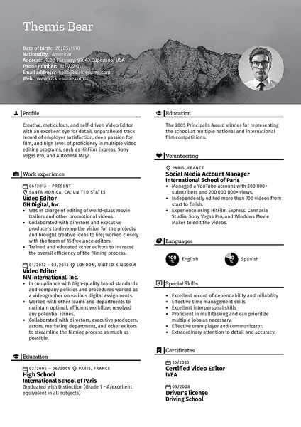 Nature resume template made by Kickresume resume builder