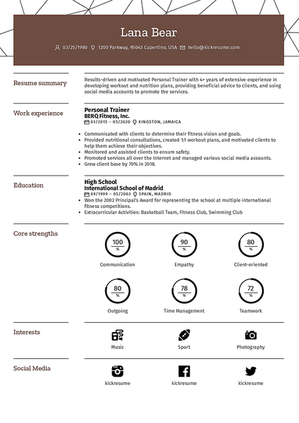 Pipeline resume template made by Kickresume resume builder
