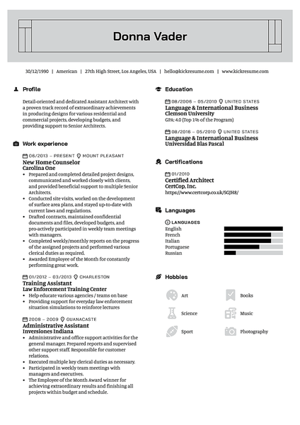 Rectangular resume template made by Kickresume resume builder