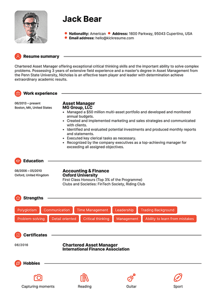 Red resume template made by Kickresume resume builder