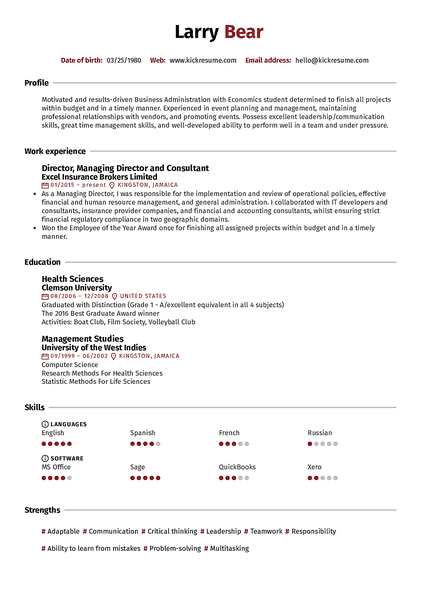 Reed resume template made by Kickresume resume builder