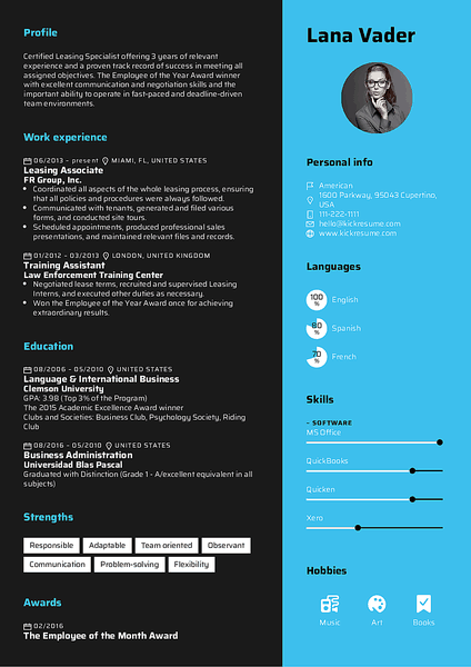 Rhubarb resume template made by Kickresume resume builder
