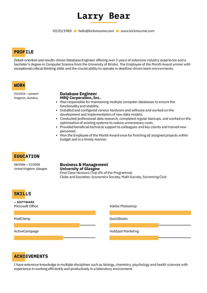 Square resume template made by Kickresume resume builder