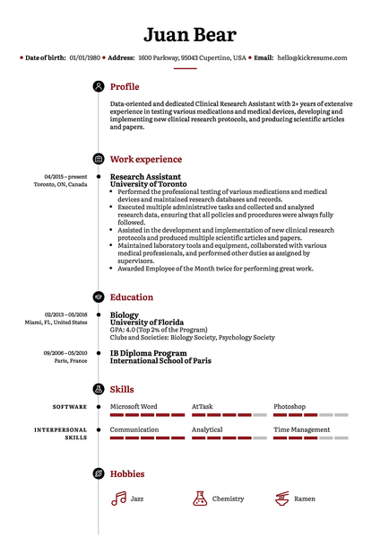 Stanford resume template made by Kickresume resume builder