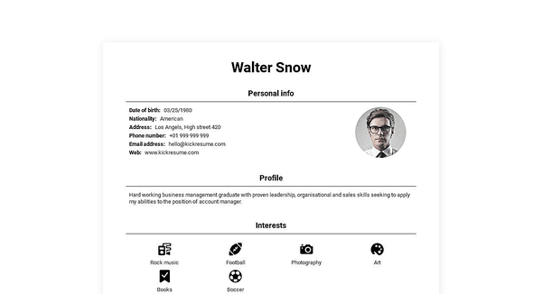 Preview of a free personal website template that you can use to upload your resume online and let employers come to you