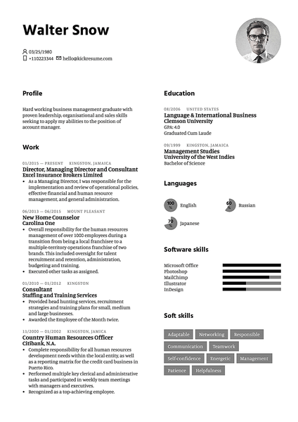 White resume template made by Kickresume resume builder