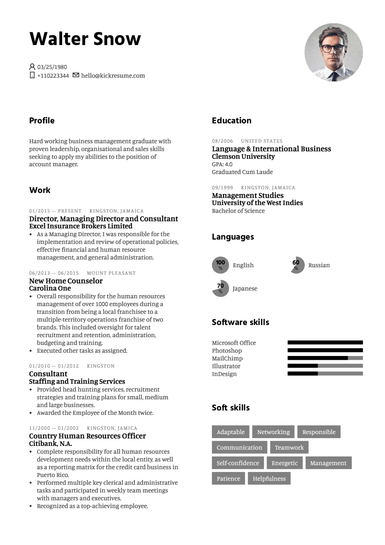 Kickresume create beautiful resume and cover letter in minutes white madrichimfo Image collections