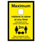 Social Distancing Signs - Maximum Visitors in Store at Any Time Sign - Self Adhesive Vinyl - YELLOW (200mm x 300mm)