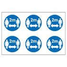 Social Distancing Sticker - Social Distancing 2m 6up on a sheet stickers - Self Adhesive Vinyl Sticker (80mm x 80mm)