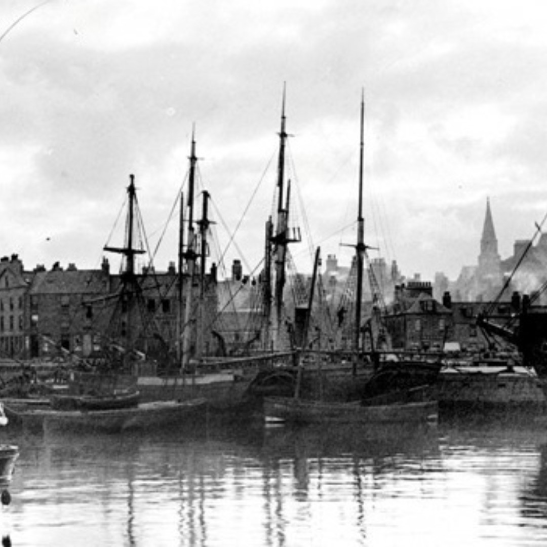 An old photo of the harbour.