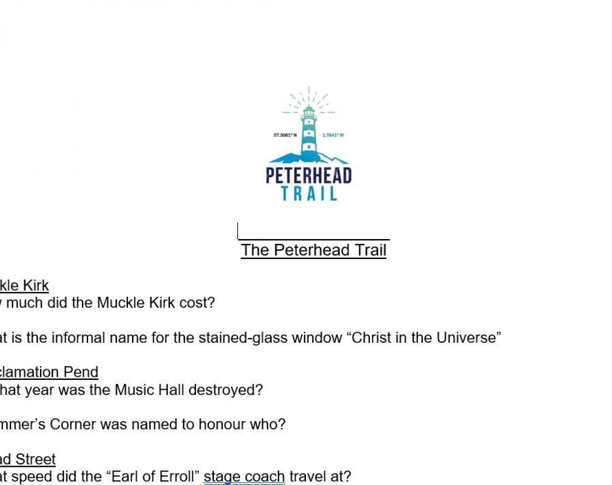 Downloadable Peterhead Trail Quiz