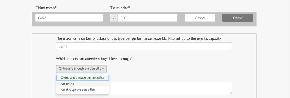 screenshot of creating a comp ticket