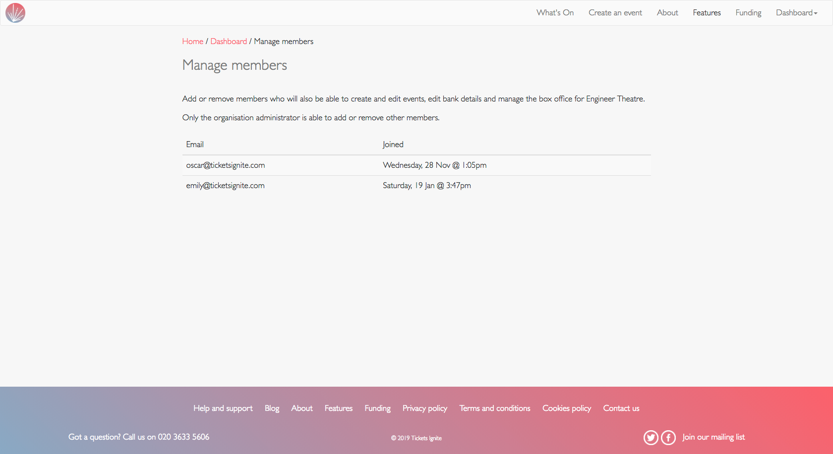 screenshot of what manage members looks like for member