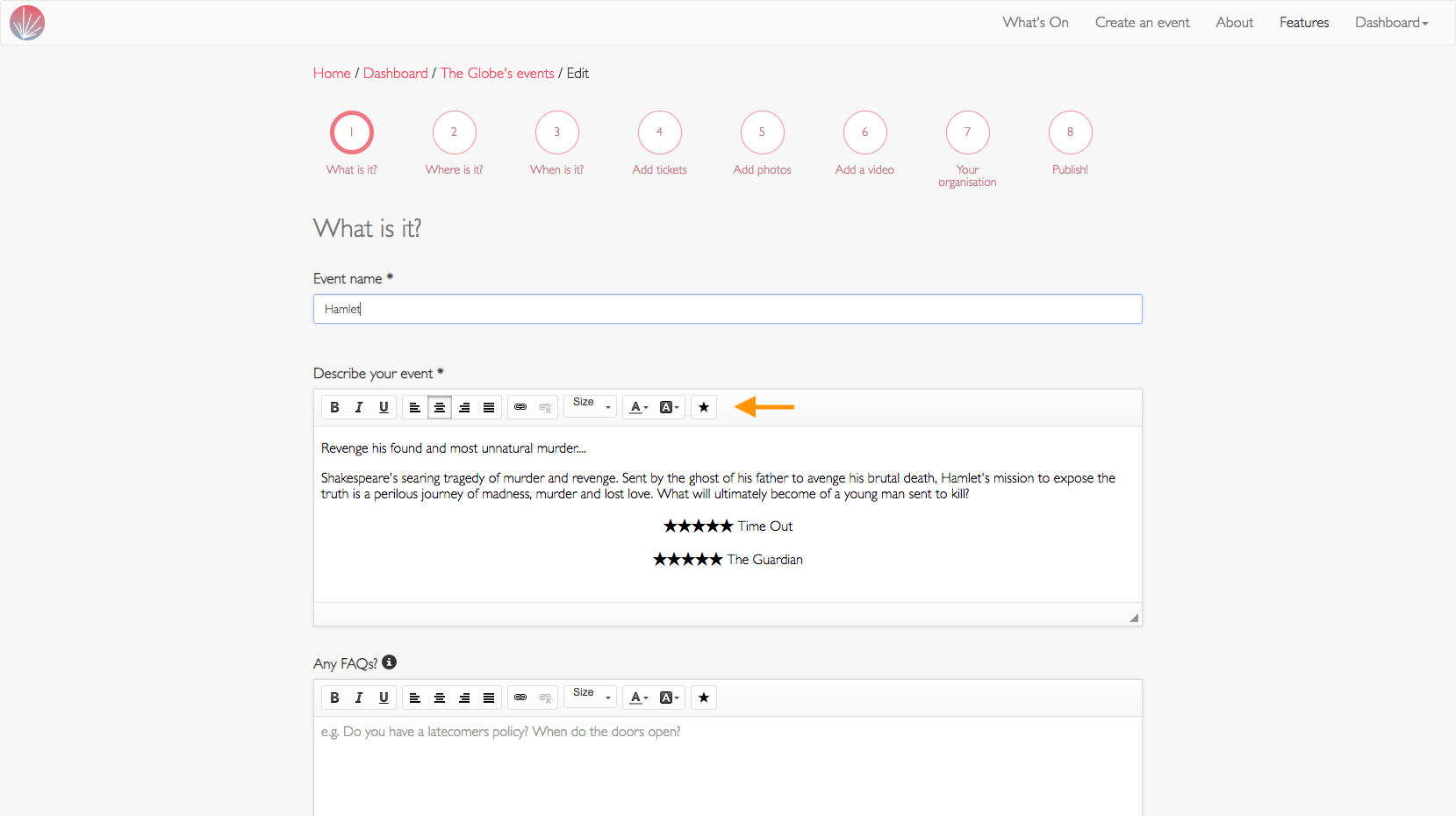screenshot of adding a review star to an event description
