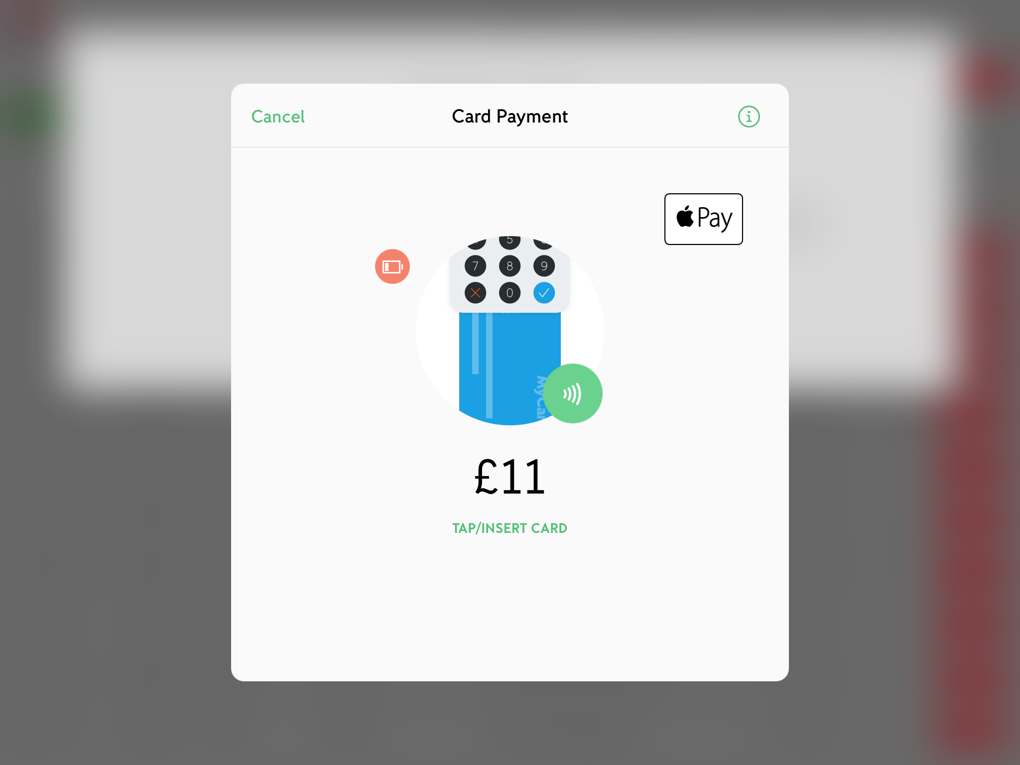 screenshot of taking an izettle payment