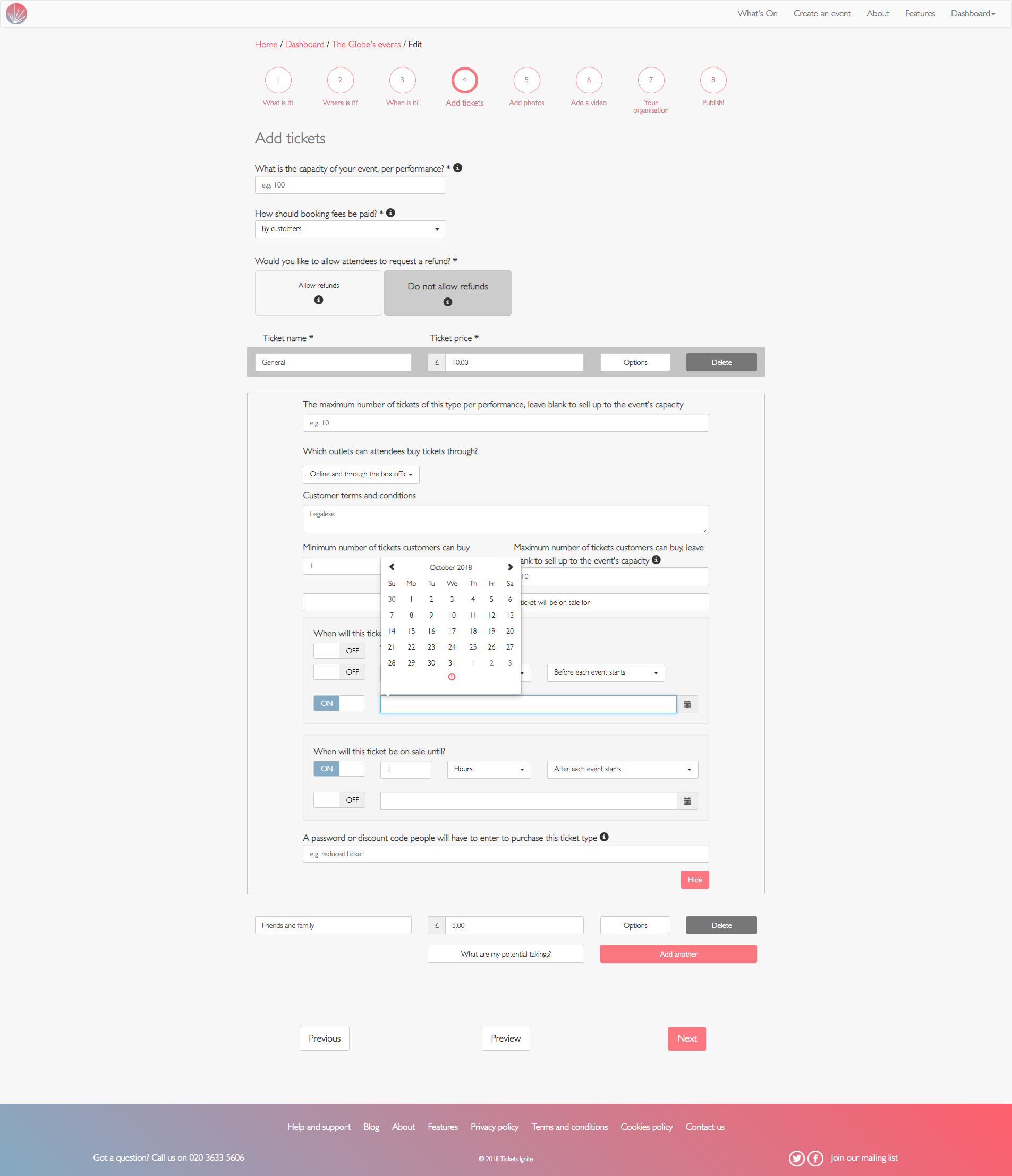 screenshot of creating a ticket type that goes on sale on a particular date