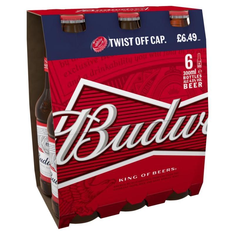 Budweiser Lager Beer Bottles    PMP  £6.49