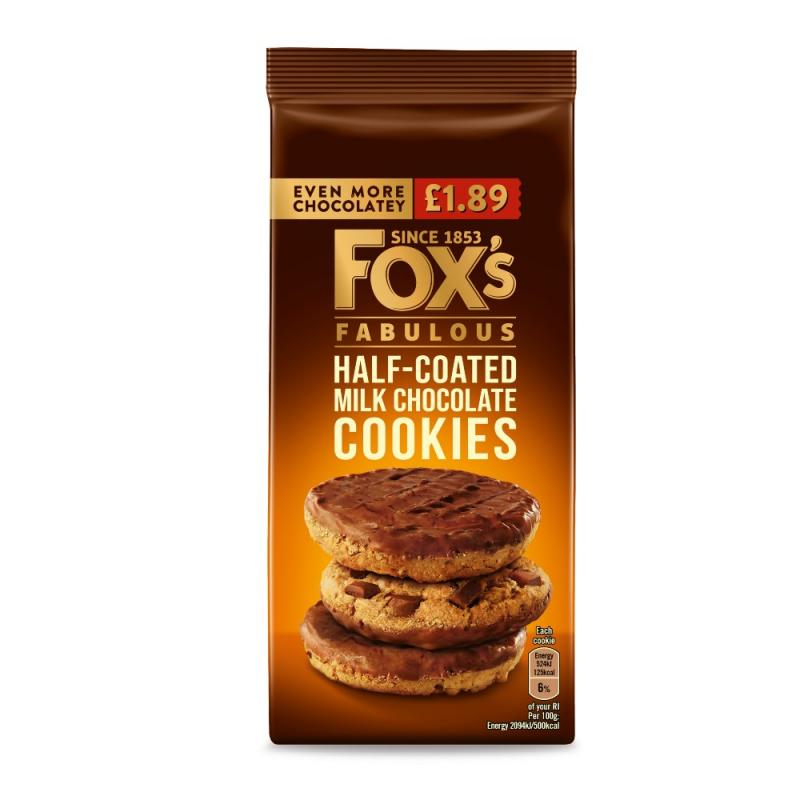 Foxs Chunkie Half Coated Milk Choc Cookies  PM £1.89