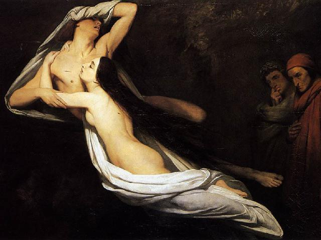 Francesca and Paolo appraised by Dante and Virgil