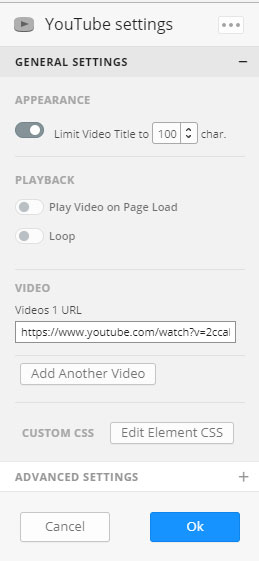 Youtube settings website builder