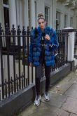 Teal Blue Silver Fox 7 Ring Coat with Collar