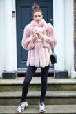 Ballet Pink Fox Fur Coat with Full Pelt Sleeves and Collar