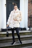 Lola Sand Fox Fur Coat with Collar