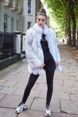 Natural Fox Fur Coat with Full Pelt Fur Sleeves and Collar