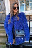 Blue Long Mongolian Fur Coat