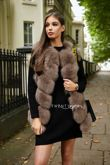 Mocha Straight Fox Fur Gilet
