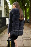 Charcoal Grey Straight Fox Fur Gilet