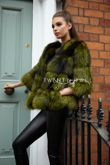 Bella Green Silver Fox Fur Coat