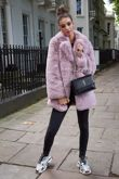 Faux Fur Full Pelt Pink Coat with Collar