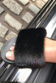 Black Mink Fur Sliders