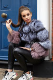 Bella Silver/Pink Fox Fur Coat