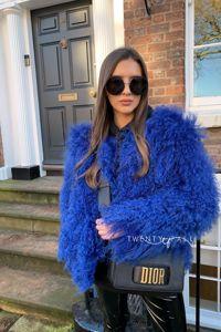 Blue Cropped Mongolian Fur Coat