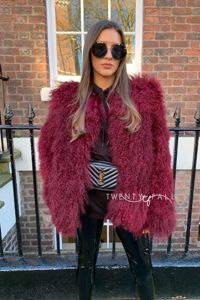 Wine Red Cropped Mongolian Fur Coat