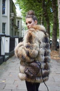 7 Ring Natural Raccoon Fur Coat with Collar