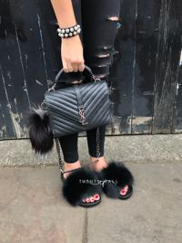 Black Fox Fur Sliders