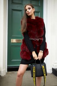 Wine Red Straight Fox Fur Gilet
