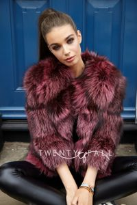 Bella Pink Silver Fox Fur Coat