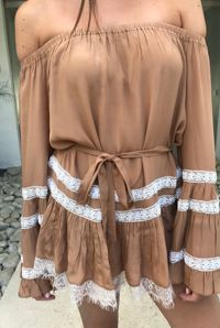 Rococo Sand Bisque Off The Shoulder Dress