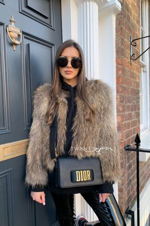 Cropped Black Fox Fur Coat