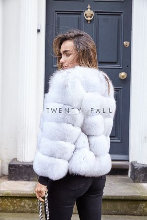 Natural White 5 Ring Fox Fur Coat